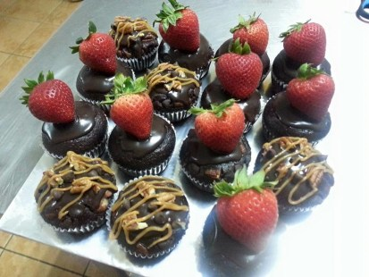 chocolate cupcake with strawberry and chocolate turtle cupcake