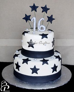 Sweet Sixteen Birthday Cake Two Tiers White Silver And Bl Flickr