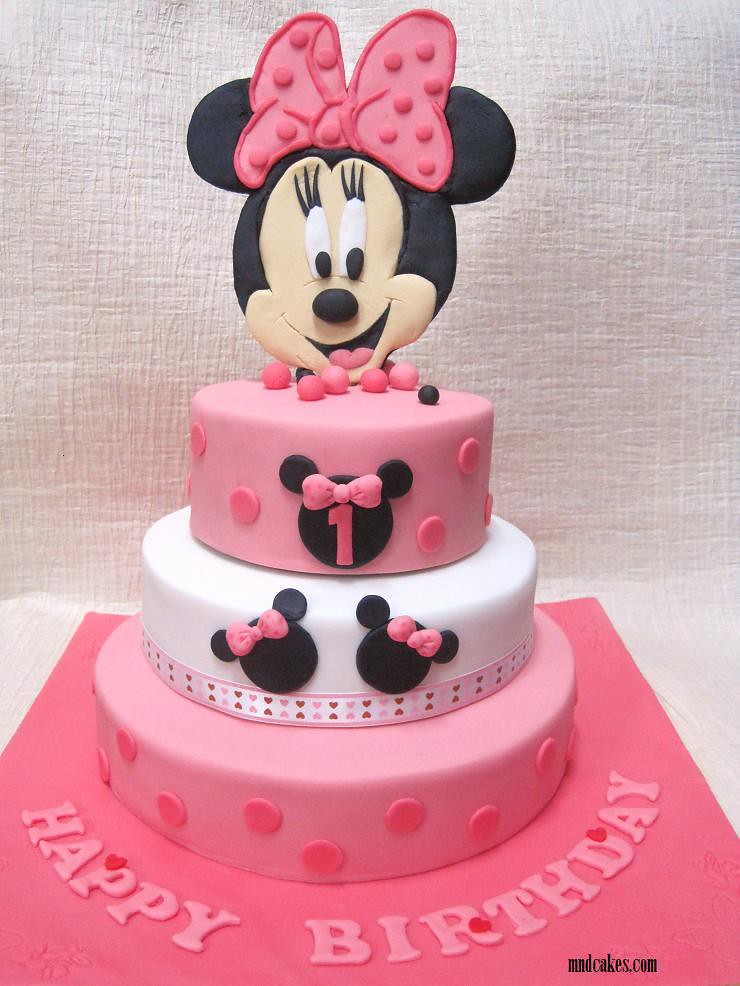 3 Tiered Minnie Mouse Cake For A 1 Year Old Girl S Birthda Flickr