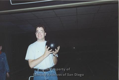 P001.150m.r.t Bowling 1991: man holding a bowling ball