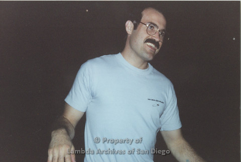 P001.147m.r.t Bowling 1991: man in blue San Diego AIDS Project t-shirt