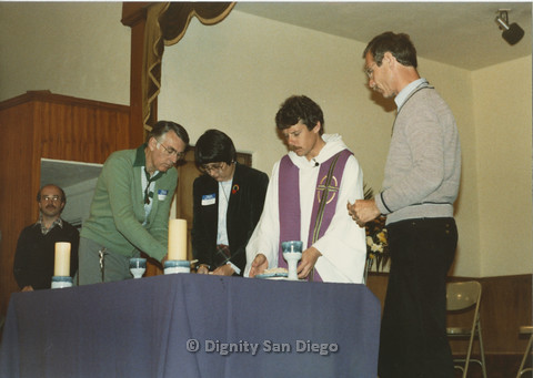 P103.001m.r.t Dignity San Diego: Left to right: unknown man, Earl, unknown woman, male church leader, unknown man