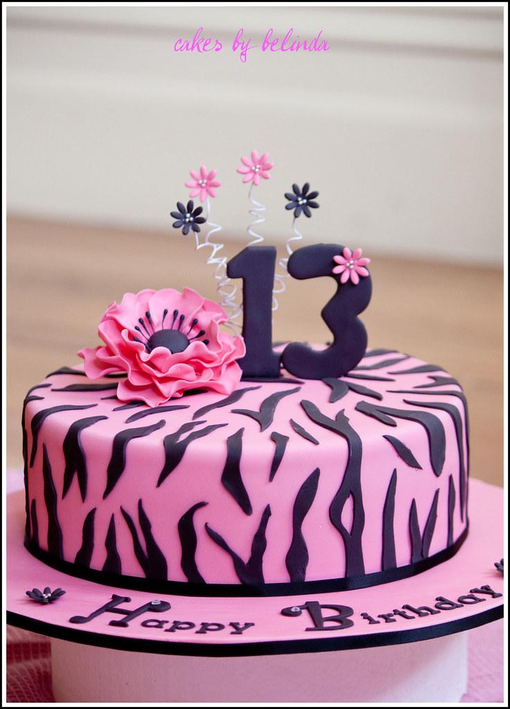 Zebra Print Birthday Cake 13th Birthday Cake Brief Was P Flickr