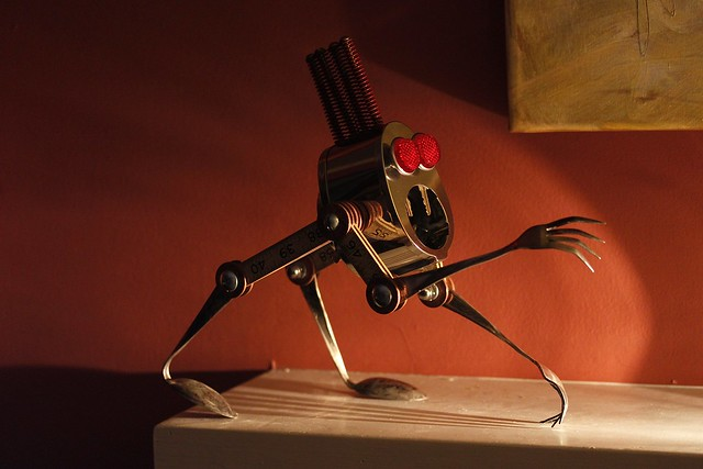 Creeper - Found Object Robot Assemblage Sculpture By Brian Marshall