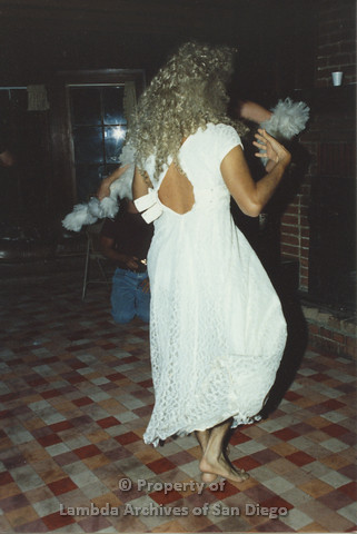 P001.232m.r.t Retreat 1991: man in drag wearing a white dress