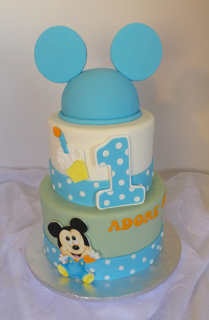 Baby Mickey Mouse Themed 1st Birthday Cake Design Was Sen Flickr