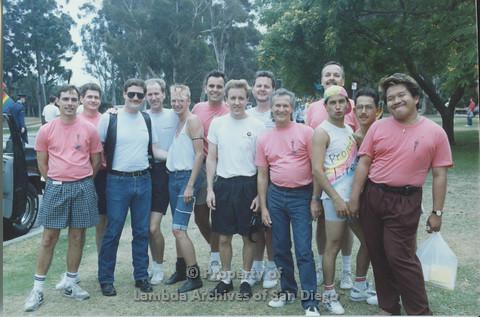 P001.064m.r Pride 1991: AIDS Foundation San Diego group photo