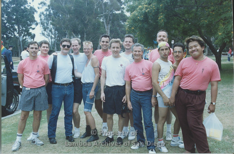 P001.064m.r Pride 1991: AIDS Foundation San Diego group photo