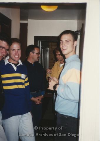 P001.177m.r.t  Retreat 1991: 5 men in a hallway