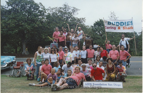"P001.049m.r Pride 1991: Group photo of ""AIDS Foundation San Diego"""