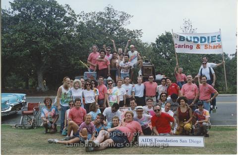 "P001.049m.r Pride 1991: Group photo of ""AIDS Foundation San Diego"""