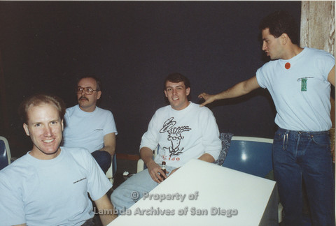 P001.146m.r.t Bowling 1991: 4 men, three are wearing blue San Diego AIDS Project t-shirts