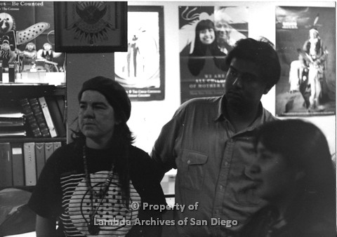 P098.003m.r.t Nations of the 4 Directions: Karen Vigneault (left), Johnny, and Giselle listening at a meeting at Indian Human Resource Center
