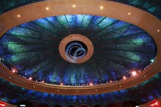 "Ceiling of theatre - Cirque de Soleil ""O"" - trapeze in centre"