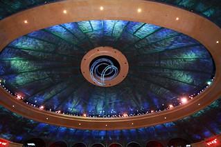 "Ceiling of theatre - Cirque de Soleil ""O"" - trapeze in centre"