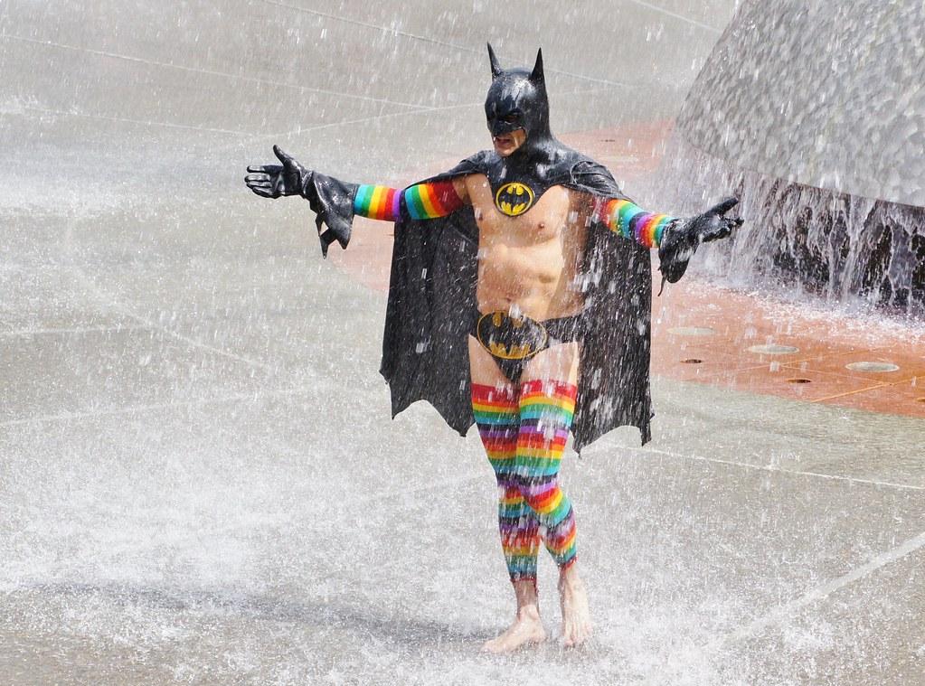 Rainbow Batman In The Fountain In The Fountain At