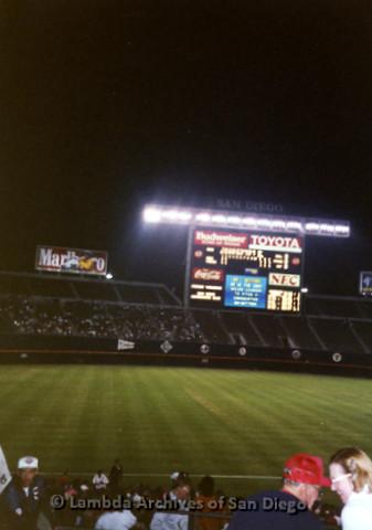 P341.022m.r.t San Diego baseball stadium scoreboard