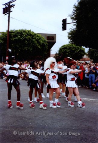 P018.060m.r.t San Diego Pride Parade 1991:  Male cheerleaders in drag