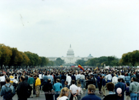 P019.224m.r.t Second March on Washington 1987: Large crowd gathered on large grass field in between the Capitol Building and Washington Monument
