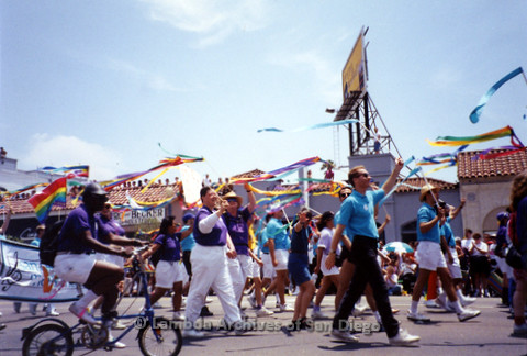 San Diego LGBT Pride Parade, July 1999: San Diego Men's Chorus and San Diego Women's Chorus Marching Together