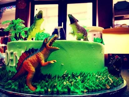 diff angle dinosaur birthday cake