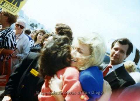 P341.034m.r.t Barbara Boxer hugging unidentified woman
