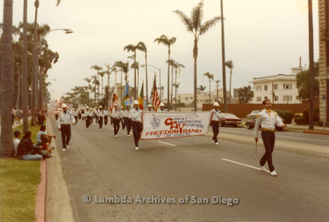 1982 - San Diego Lambda Pride Parade, the 'Great American Yankee Freedom Band of Los Angeles' marches while performing in the Pride Parade.