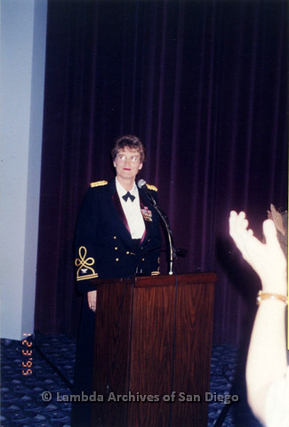 "P122.023m.r.t screening of NBC TV film: ""Serving in Silence: the Margarethe Cammermeyer Story"": Margarethe Cammermeyer standing behind podium"