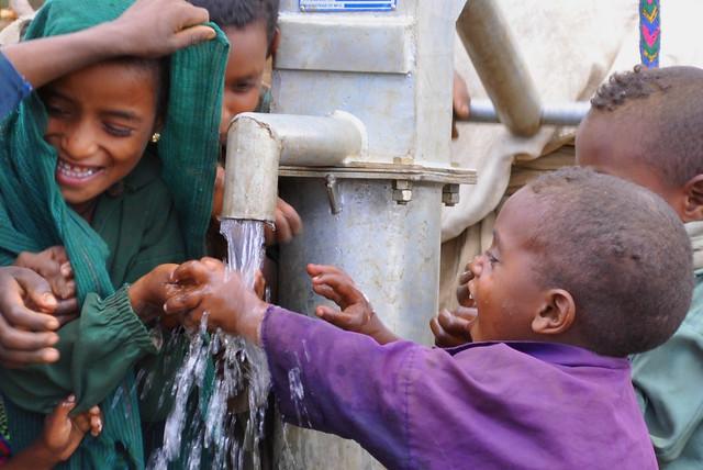 Kids drinking safe water