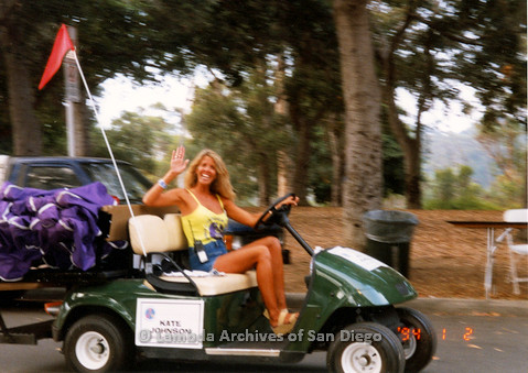 P018.143m.r.t San Diego Pride Festival 1998: Woman on golf cart