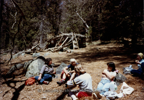 P008.023m.r.t Mt. Palomar 1983: Margaret Lewis, Ann Ramsey, Jan, and others sitting during lunch break