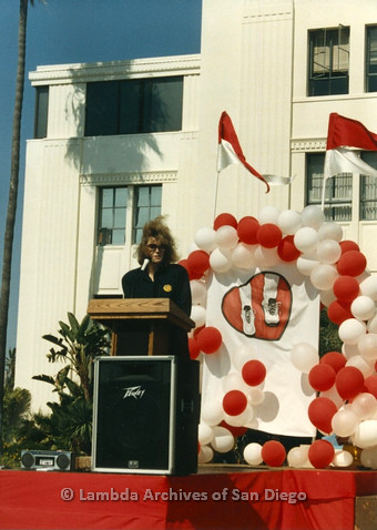 P012.010m.r.t San Diego Walks for Life 1986: Eileen Brennan speaking at podium