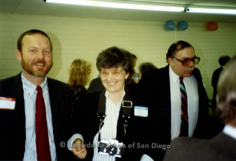 """P338.020m.r.t Left to Right: Charles McKain, Jeri Dilno, and Lawrence """"Larry"""" Gorfine at political event"""