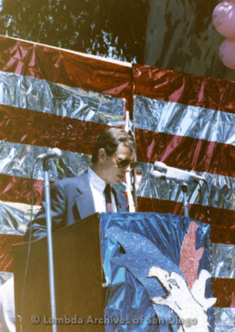 1985 - San Diego Pride Rally: Presentation of the County Proclamation by Neil Good.
