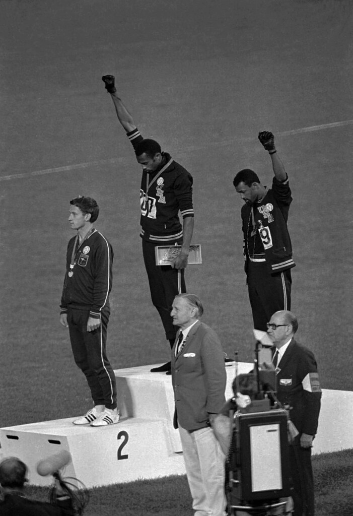John Carlos and Tommie Smith made headlines across the world when they raised the black power salute on the podium after winning in the 1968 Olympics