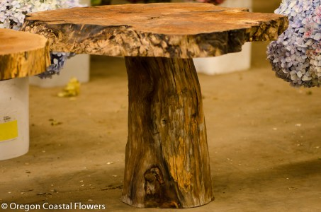 Character natural wood pedestal tables