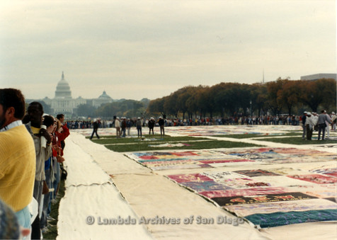 P323.001m.r.t AIDS Quilt at National Mall 1987: View of AIDS Quilt with Capitol Building in background
