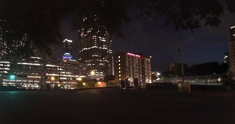 Street lights out panorama