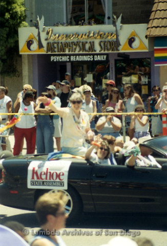 San Diego Pride Parade, July 1998: Christine Kehoe (sitting in back of convertable) with wife Julie Warren (sitting in front passenger seat)