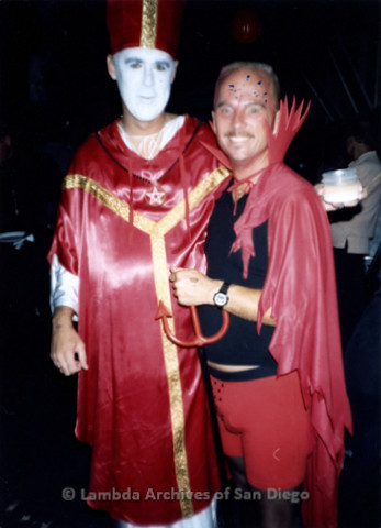 """P243.091m.r.t """"Being Alive"""" Halloween Party in Hillcrest: Two men dressed in Satanic costumes"""
