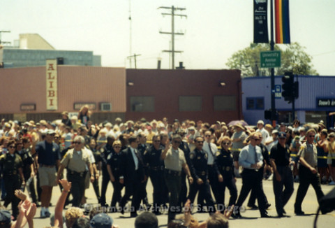 San Diego Pride Parade, July 1998: Police, Sheriff Officers and Fire Department walking in the parade