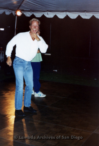 San Diego LGBTQ Pride Festival, July 1995: Merle Johnson on the dance floor smiling