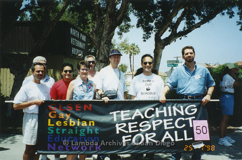 P122.004m.r.t GLSEN at Pride 1998: GLSEN members holding up the banner for the organization