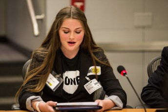 Representative of Action 2015 speaks with the World Bank Group