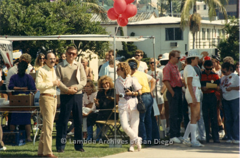 P116.015m.r.t San Diego Walks For Life 1986: Crowd outside under canopy including Susan Golding, Ed Struiksma, Eileen Brennan