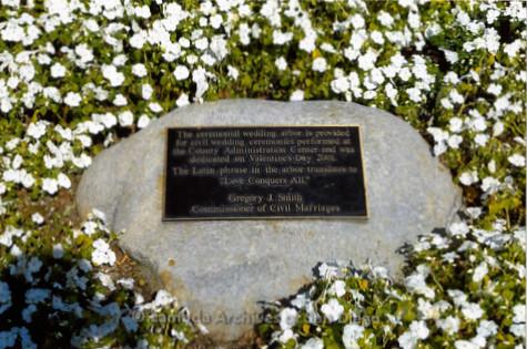P249.020m.r.t First Same Sex Weddings in San Diego: Rock plaque describing dedication of ceremonial wedding arbor