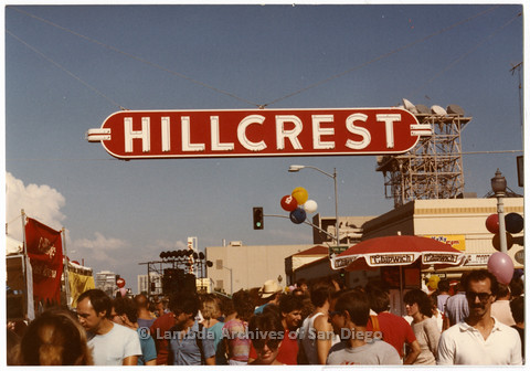 "P201.004m.r.t Hillcrest Street Fair: Crowd of attendees below ""Hillcrest"" sign (later became CityFest)"
