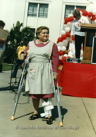 "P012.023m.r.t San Diego Walks for Life 1986: Zelda ""Mother"" Rubenstein smiling"