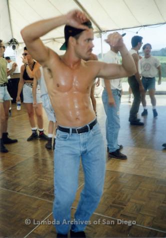 P018.104m.r.t San Diego Pride Festival 1992: Man dancing at festival