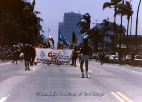 San Diego Lambda Pride Parade: Contingent - Great American Yankee Freedom Band of Los Angeles Marching Up Sixth Avenue across from Balboa Park.